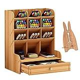 Marbrasse Wooden Desk Organizer, Multi-Functional DIY Pen Holder Box, Desktop Stationary, Easy...