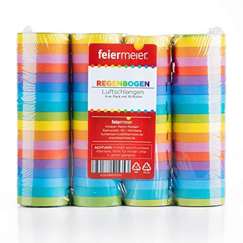 feiermeier Luftschlangen Regenbogen mit 4 Rollen a 4 Metern für Party, LGBT-Motto, Kindergeburtstag
