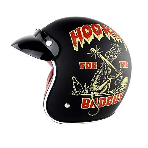 He-art Crazy Street Graffiti Casco Moto Aperto con Occhiali Antivento Colorati Maschera Guanti da...