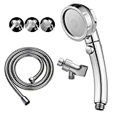 KAIYING Chrome High Pressure Handheld Shower Head with ON/OFF Pause Switch, 3 Spray Modes Shower Wand with Shut Off Button, Removable Camper Shower Head with Hose and Adjustable Angle Bracket