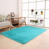Moontree Super Soft Indoor Modern Shag Area Smooth Rugs Fluffy Rugs Anti-Skid Shaggy Area Rug Dining Room Home Bedroom Carpet Floor Mat (0.81.6M, Blue)