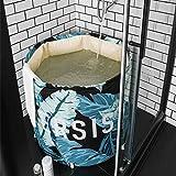 UNIKON Portable Foldable Bathtub Soaking Bath Tub Freestanding Bathtub Plastic Bathing Tub for Shower Stall, Thickening with Thermal Foam to Keep Temperature, Jungle Printed