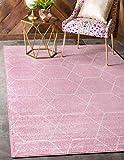 Unique Loom Trellis Frieze Collection Lattice Moroccan Geometric Modern Pink Area Rug (8' 0 x 10' 0)