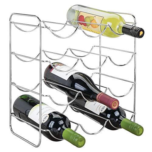 mDesign Portabottiglie Vino per Cucina, frigo o dispensa Porta Bottiglie in Metallo per Massimo 12 Bottiglie Cantinetta Ideale per Vino, Birra e liquori Argento