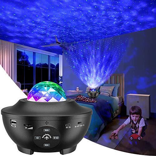 Proiettore Cielo Stellato, Proiettore Stelle Rotante a 360 Gradi a 10 Colori, Lampada Proiettore con Telecomando Timer Altoparlanti Bluetooth&USB, Proiettore Galassia Romantica Adatta per Regali