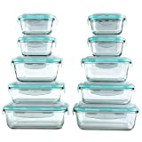 [20 Piece] Vallo Glass Food Storage Containers Set with Snap Lock Lids - Safe for Microwave, Oven, Dishwasher, Freezer - BPA Free - Airtight & Leakproof