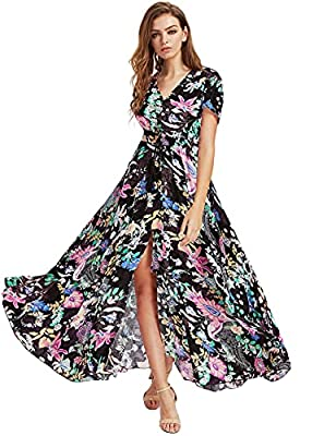 Fabric: Polyester or Rayon, It's very soft and comfortable, elasticity, light weight and has the feeling of fluttering hem A Line, Buttons Up, Flowy, Split, V Neck, Short Sleeve, Floral Print, Maxi, Boho Suitable for spring, summer, autumn, casual, w...