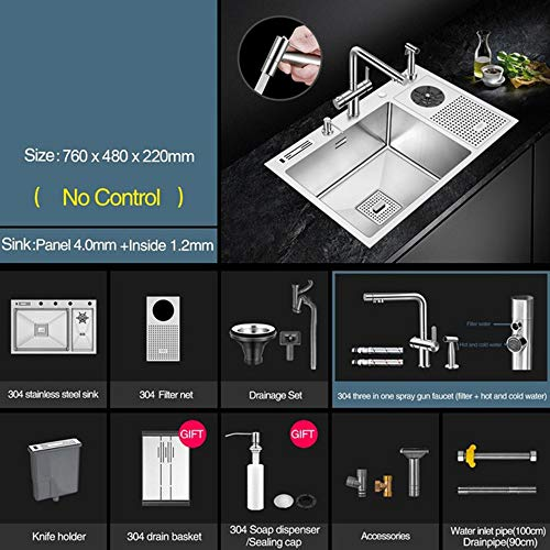 Handmade Brushed Sink 304 Stainless Steel 4Mm Thickness High Pressure Cup Washer Bar Counter Kitchen Sink with Knife Holder 4