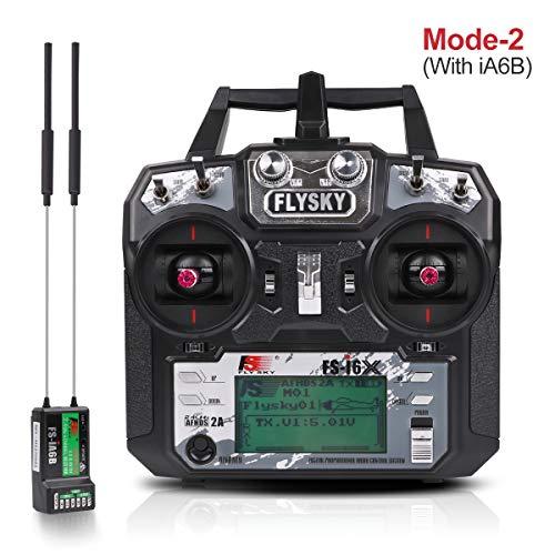 Flysky Fs i6X Radiocomando, RC Trasmettitore Radio (10 Canali, 2.4GHz Protocollo, AFHDS 2A) con Flysky Ricevente ia6b RC Ricevitore Receiver for Drone Quadcopter