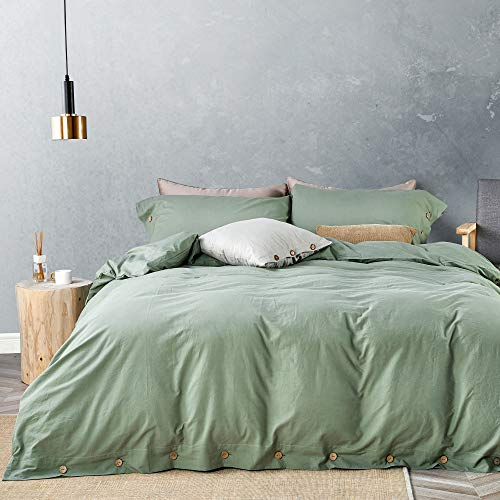 JELLYMONI Green 100% Washed Cotton Duvet Cover...
