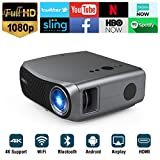 Full HD Wifi Bluetooth Projector 1080P Native Support 4K, 5500 Lumen LED Smart Android Wireless Home Outdoor Business Projector 1920x1080 USB HDMI VGA AV Audio for Laptop PC TV DVD PS4 Smartphones Mac