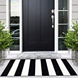 NANTA Black and White Striped Rug Updated Cotton Machine Washable Outdoor Rugs for Farmhouse Layered Door Mats Striped Mat 27.5 x 43 Inches
