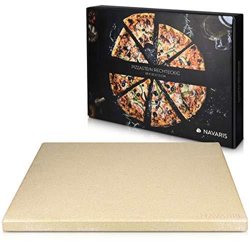 Navaris Pietra refrattaria per Cottura Pizza XL- per cuocere nel Forno di casa Pane Pizza focacce teglia Rettangolare 38x30cm Cottura 800 Cordierite