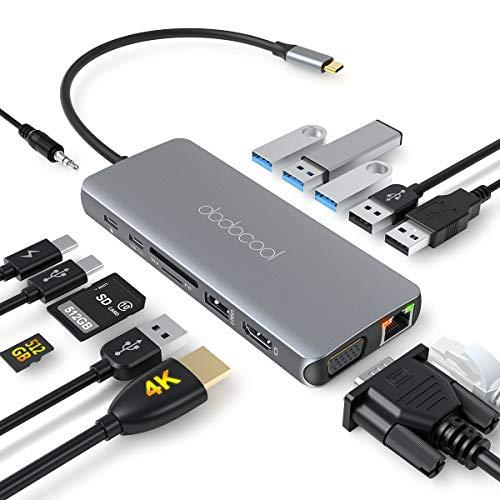dodocool USB C ハブ VGA / 4K HDMI/LAN / 4K HDMI / 100W PD 充電/USB C データ転送 / 3.5mmオーディオポ...