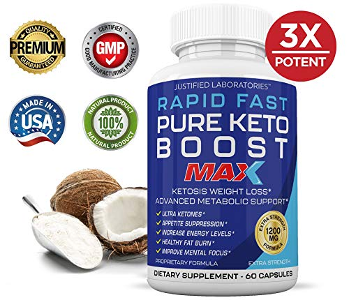 Rapid Fast Pure Keto Boost Max 1200MG Keto Pills Advanced BHB Ketogenic Supplement Exogenous Ketones Ketosis for Men Women 60 Capsules 1 Bottle 3