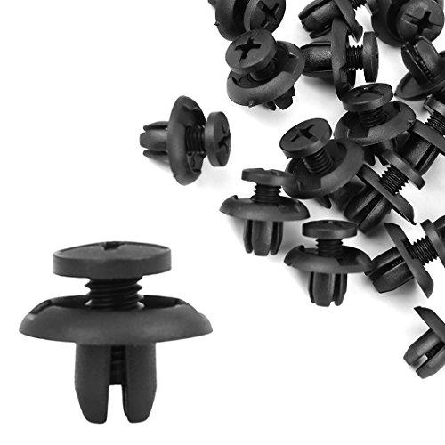 uxcell 20 x 8mm Nylon Push-Type Retainer Clips Fasteners Bumper Fender Hood Splash Shield