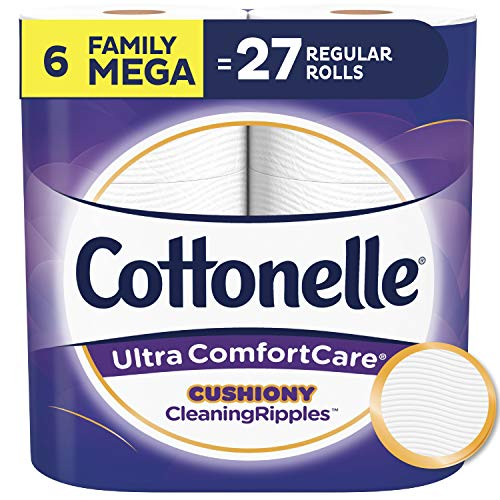 Cottonelle Ultra ComfortCare Soft Toilet Paper with Cushiony CleaningRipples, 6 Family Mega Rolls