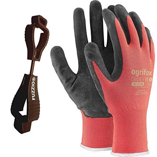 24 paia di guanti da lavoro e supporto clip per guanti FUZZIO (M - 8, Rosso)