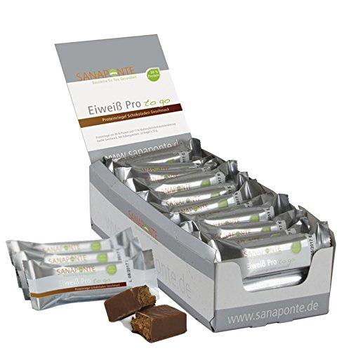 """!! Neu !! TESTSIEGER !! Sanaponte Eiweiß Pro\""""to go\"""" Riegel 50{63fefb319df8261631293ecc5be5d0606aa016bb52d417ce611943341d624a5f} Protein (24x 35g Riegel) Low Carb Protein Riegel Schokoladen Geschmack - Protein Bar - nur 125 kcal pro Riegel"""