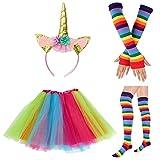 80s Womens Accessory,Tutu Skirt,Unicorn Headband, Unicorn Wigs Rainbow Long Gloves Socks,Rainbow Adjustable Suspenders w/Bow-tie (2-A)