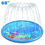 Sprinkler Splash Pad - 68'' Play Sprinkle Mat, Summer Outside Water Toys, Outdoor Swimming Wading Pool for Babies and Toddlers