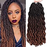 18 Inch Goddess Faux locs Crochet Hair 6 Packs/Lot Soft Gypsy Loc Wavy Crochet Braids Dreadlocks 3Tone Ombre Curly Wavy Twist Braiding Hair Extensions 24 Strands/Pack African Roots Braid(# 1B/4/30#)