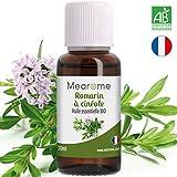 Huile essentielle de ROMARIN A CINEOLES BIO - Eclat des cheveux, Confort respiratoire, Diffuseur, Aromathérapie - 30 ml - 100% Pure et Naturelle, HEBBD, HECT - Distillée en France - Mearome