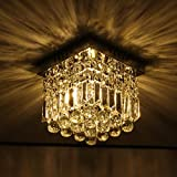 US Fast Deliv. Luxury Modern H8'' x W8'' Small Crystal Chandelier Ceiling Light Fixture, for Bedroom Living Room Hallway Bathroom Kitchen