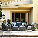 XIZZI Patio Furniture, Outdoor Garden Sofa sectional, Wicker Patio Furniture with Wather Resistant Cushion and 2 Pillows (Blue)