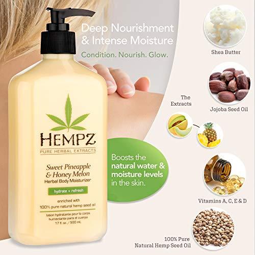 Hempz Sweet Pineapple & Honey Melon Moisturizing Skin Lotion, Natural Hemp Seed Herbal Body Moisturizer with Jojoba, Natural Extracts, Vitamin A and E, 17 oz 5