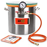 BACOENG 5 Gallon Tempered Glass Lid Stainless Steel Vacuum Chamber Perfect for Stabilizing Wood, Degassing Silicones, Epoxies and Essential Oils.