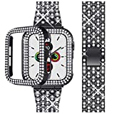 Beuxece Bling Band Compatible Apple Watch with Case 38/40/42/44mm iWatch Series 5/4/3/2/1, Metal Jewelry Rhinestone Diamond Bracelet Wristband Strap Replacement for Women, Black