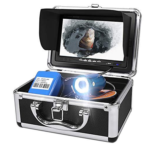 Anysun Telecamera per Pesca Subacquea, Sistema di Registrazione DVR Funzione di Temperatura e profondit, Impermeabilit IP68 Camera 7 con Monitor LCD A Colori con Cavo da 30m (SD da 8GB Inclusa)