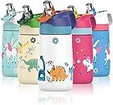 FJbottle Borraccia Bambini acciaio inox con cannuccia, Senza BPA- Termos 350ml, Bottiglia Termica - Caldo/Freddo, Bottiglia Acqua riutilizzabile - per campeggio, scuola, asilo a Prova di perdite