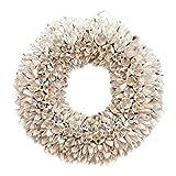 COURONNE Türkranz mit Aufhängevorrichtung 30cm in weiß, gefertigt aus Bakuli-Früchten - Deko aus Naturmaterialien als Herbstdeko im Shabby chic Design