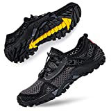 SOBASO Womens Quick Drying Water Shoes Mens Breathable Barefoot Swim Shoes for Beach River Lake Yoga Surf Grey Black