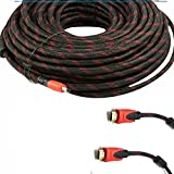 CableVantage Premium HDMI Cable 100FT for 3D DVD PS4 HDTV LCD HD TV 1080P v1.4 High Speed Braided Nylon HDMI Cable Braided Red