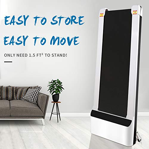 UMAY Portable Treadmill with Foldable Wheels, Under Desk Walking Pad Flat Slim Treadmill, Sports App, Installation-Free, Remote Control, Jogging Running Machine for Home/Office, White 4