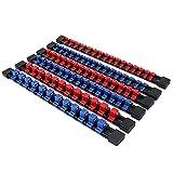 SWANLAKE ABS Socket Organizer Drive Socket Holder, 6PCS 1/4-Inch x 32 Clips, 3/8-Inch x 30 Clips, 1/2-Inch x 24 Clips, Premium Quality Socket Clip Rail Holder
