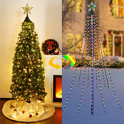 Twinkle Star Christmas Tree Lights with Star Topper, Curtain Fairy...