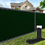 AofeiGa 5'×50 Privacy Fence Screen Windscreen Heavy Duty Fence Shade Net Cover for Outdoor Yard Wall Garden Backyard 180 GSM (Green)