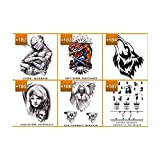 VanTattoo (6Sheets) Fashion Body Art Stickers Removable Waterproof Temporary Tattoo –Angels, skeletons, wolves, angel wings crosses, dragons, angels and demons