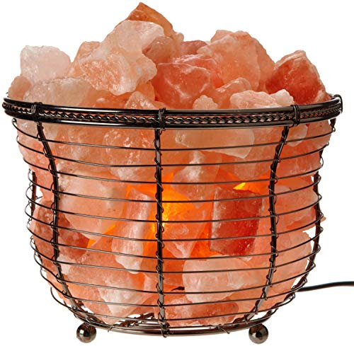 Natural Himalayan Salt Lamp, Tall Round Metal Basket lamp with Dimmer Switch | 8-10 lbs
