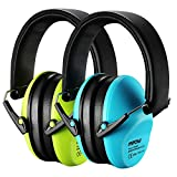 Mpow Kids Ear Protection 2 Pack, NRR 25dB Noise Reduction, Hearing Protection for Kids, Toddler Ear Protection for Hunting Season, Shooting Range, Car Race, Traveling, with Carrying Bags-Blue&Green