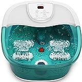Bañera para Pies con Vibración Calentamiento Burbujas, Rodillos de Masaje, Piedra Pómez, Apagado...