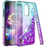 LeYi Compatible for LG Tribute Empire Case,LG Aristo 3/Aristo 2/Aristo 2 Plus/Tribute Dynasty/Fortune 2/Risio 3/Zone 4 Case w/Screen Protector, Glitter Phone Case for LG K8 2018 Teal/Purple