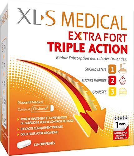 XL-S Medical Extra Fort – pour Une Aide à la Perte de Poids Efficace – Réduit L'absorption des Calories Issues des Sucres Lents, Sucres Rapides et Graisses – Boîte de 120 Comprimés