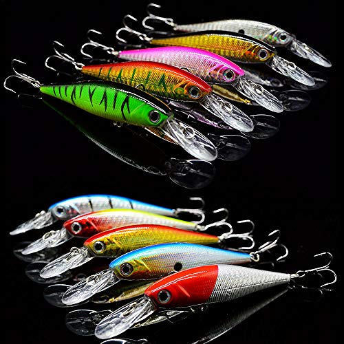 OriGlam 10 Pack Fishing Lures Hard Baits, 3D Eyes Minnow Fishing Lures Crankbait, Swimbait Fishing...