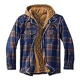 Hiver Button Plaid Down Hooded Pulls Soft Shell Fleece Plush Cardigan Sports Jacket Fourré Coton Blousons Long Manche Daim Homme Manteau (Marine, XL)