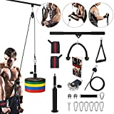 3 in 1 Pulley System Gym, 90'' Adjustable Cable Pulley, LAT Pull Down Bars and Lift Up Cable Machine, with Upgrad Loading Pin, Exercise Upper Body for Home Workout Equipment Fitness Weights Attachment